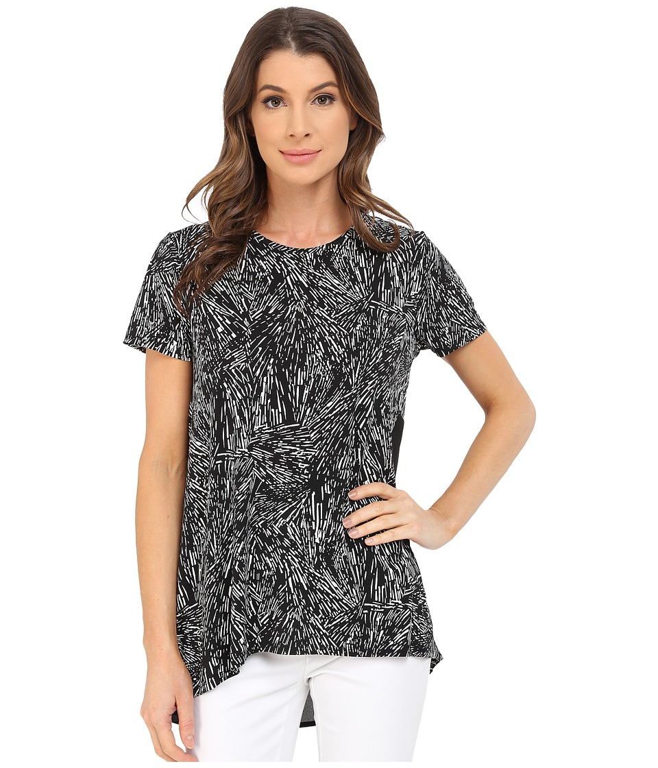 Vince Camuto - Short Sleeve Scattered Fragments High-Low Hem Top (Rich Black) Women's Blouse