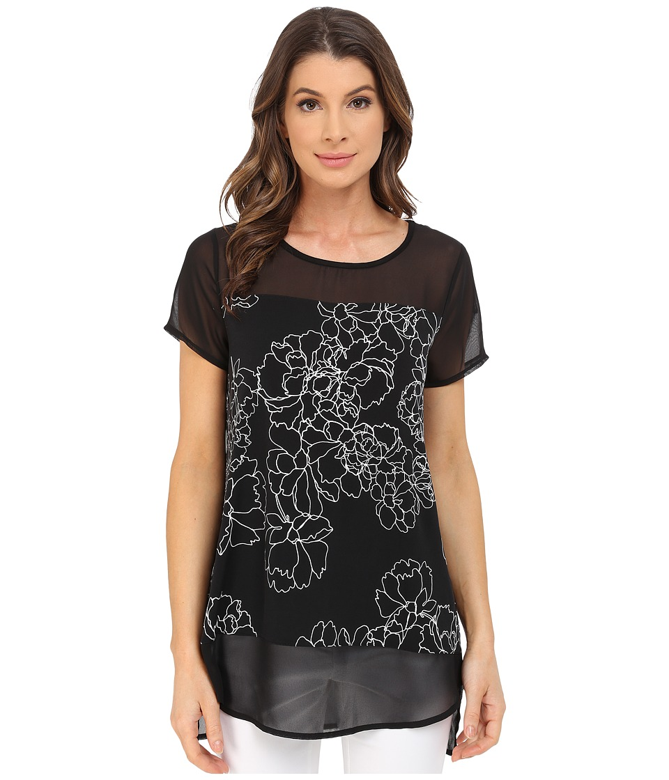 Vince Camuto - Short Sleeve Floral Contour Mix Media Top (Rich Black) Women's Blouse