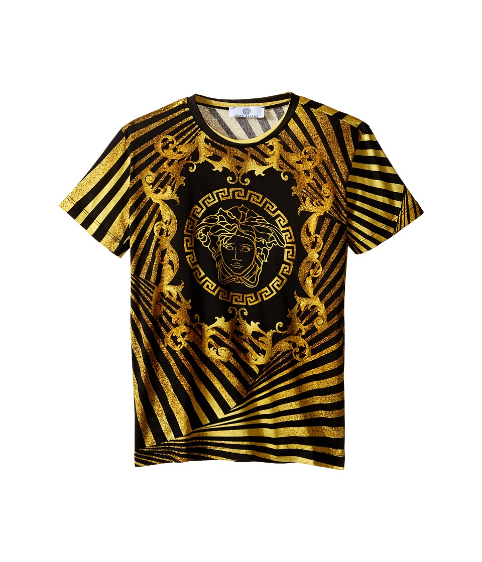 Versace Kids - Short Sleeve T-Shirt w/ Medusa and Stripe Design (Big Kids) (Black/Gold) Boy's Short Sleeve Pullover