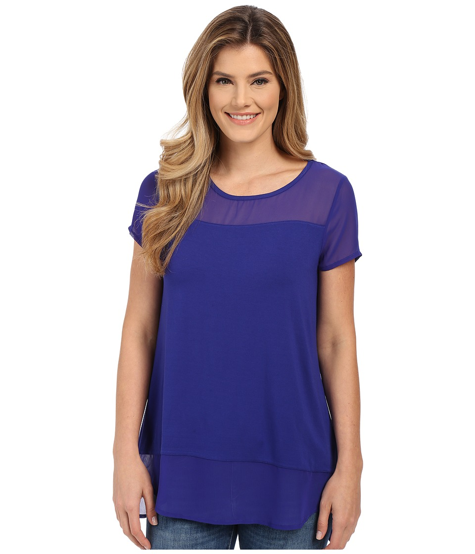 Vince Camuto - Short Sleeve Mix Media Top w/ Chiffon Yoke Hem (Vivid Indigo) Women's Clothing