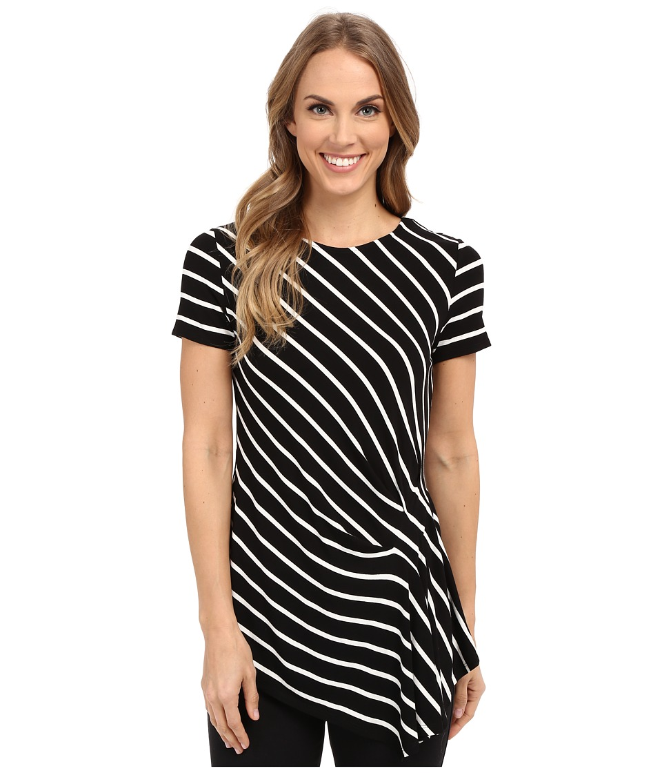 Vince Camuto - Short Sleeve Quarry Stripe Side Pleat Top (Rich Black) Women's Short Sleeve Pullover