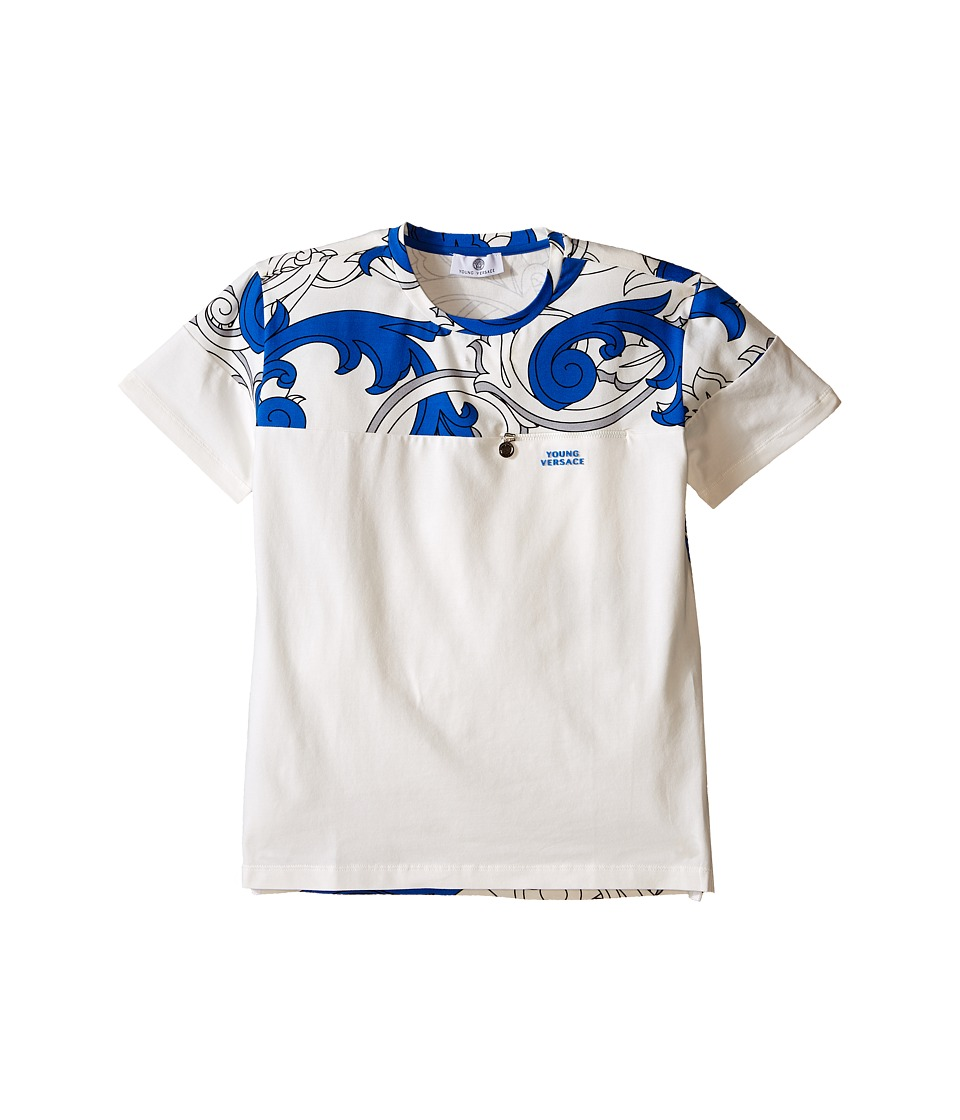 Versace Kids - Color Block T-Shirt with Macrobarocco Print (Big Kids) (White/Blue) Boy