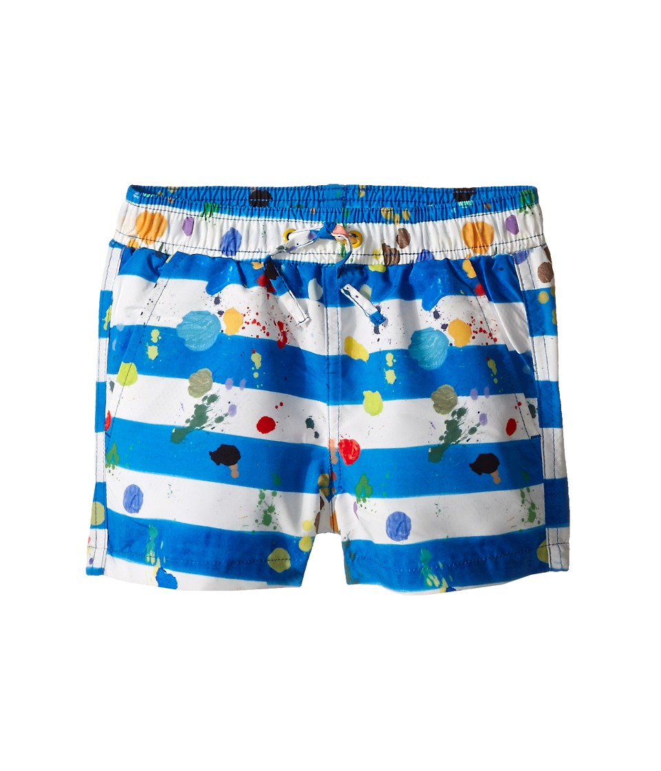 Stella McCartney Kids - Taylor Striped Paint Splatter Swim Trunks (Infant) (Blue/White) Boy's Swimwear
