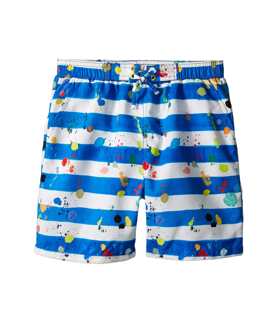 Stella McCartney Kids - Taylor Striped Paint Splatter Swim Trunks (Toddler/Little Kids/Big Kids) (Blue/White) Boy's Swimwear