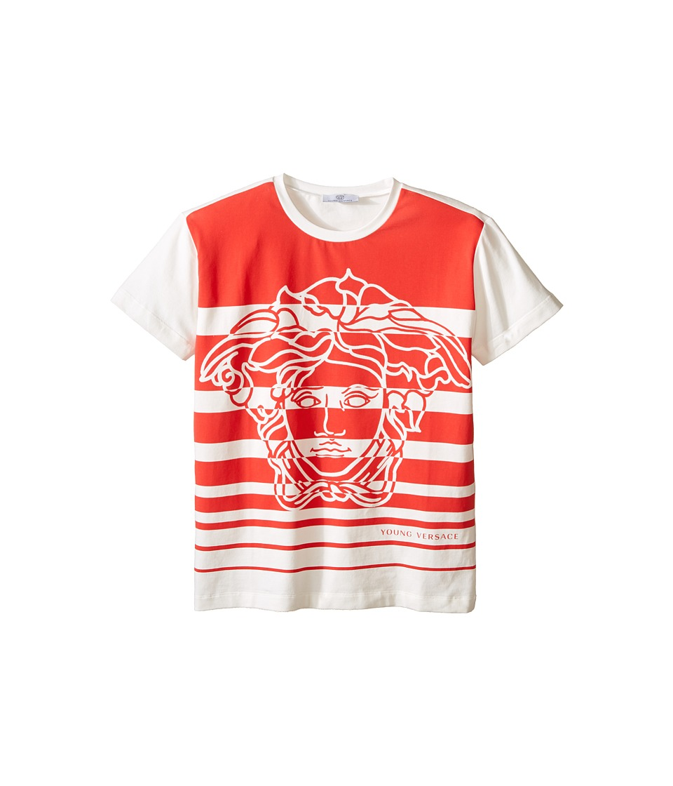 Versace Kids - Striped T-Shirt with Medusa Graphic (Big Kids) (White/Red) Boy's Short Sleeve Pullover
