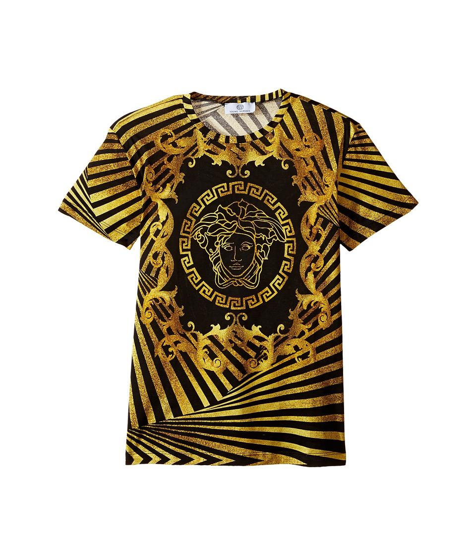 Versace Kids - Short Sleeve T-Shirt w/ Medusa and Stripe Design (Big Kids) (Black/Gold) Boy