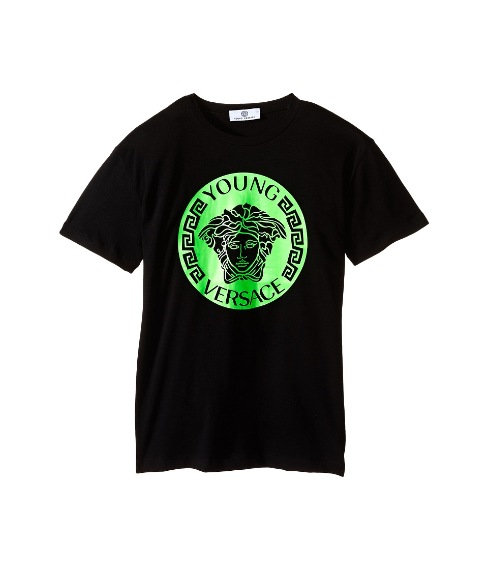 Versace Kids - T-Shirt with Medusa Logo on Front (Big Kids) (Black/Green) Boy's Short Sleeve Pullover