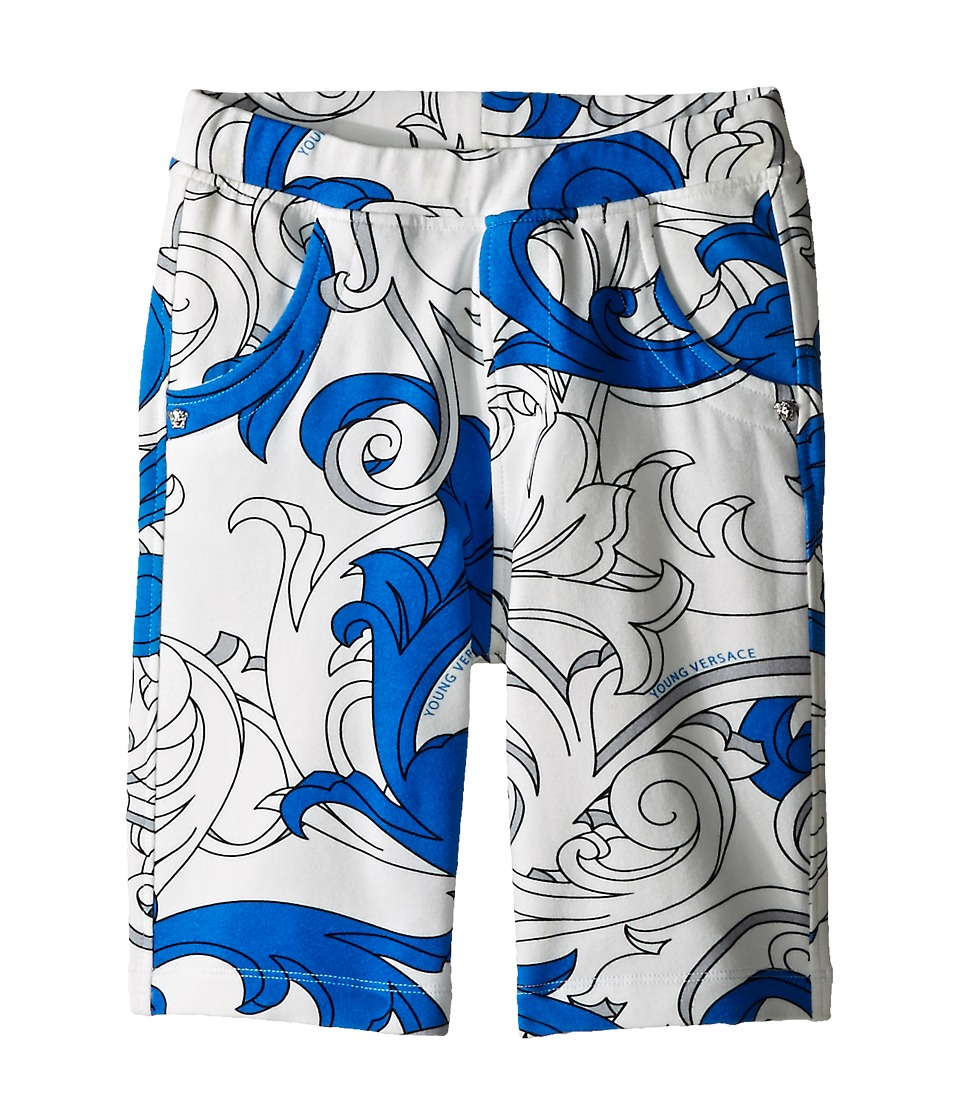Versace Kids - Shorts with All Over Macrobarocco Print (Toddler/Little Kids) (White/Blue) Boy's Shorts