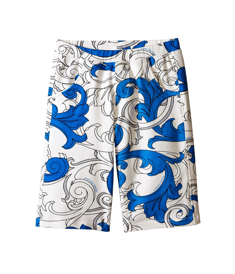 Versace Kids - Shorts with All Over Macrobarocco Print (Big Kids) (White/Blue) Boy's Shorts