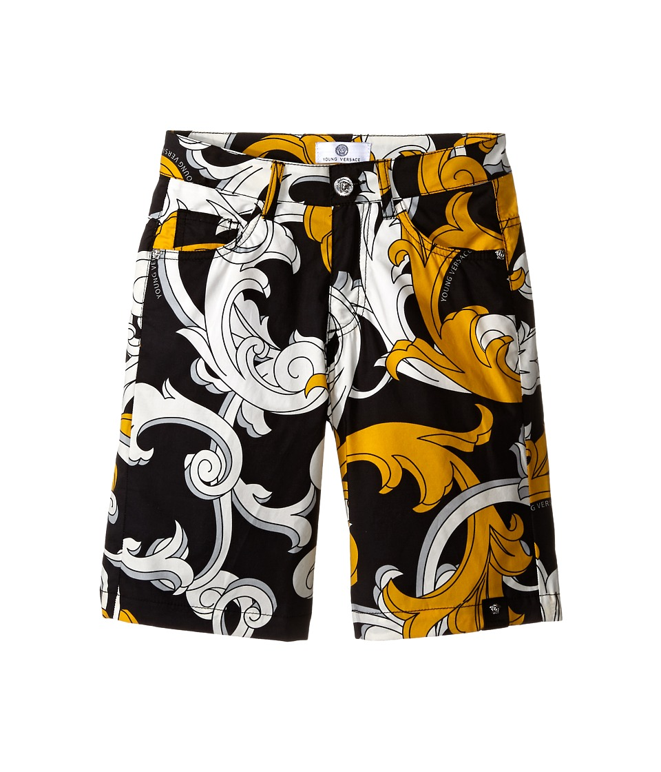 Versace Kids - Macrobarocco Print Shorts w/ Zipper Pockets (Big Kids) (Black/Gold) Boy's Shorts