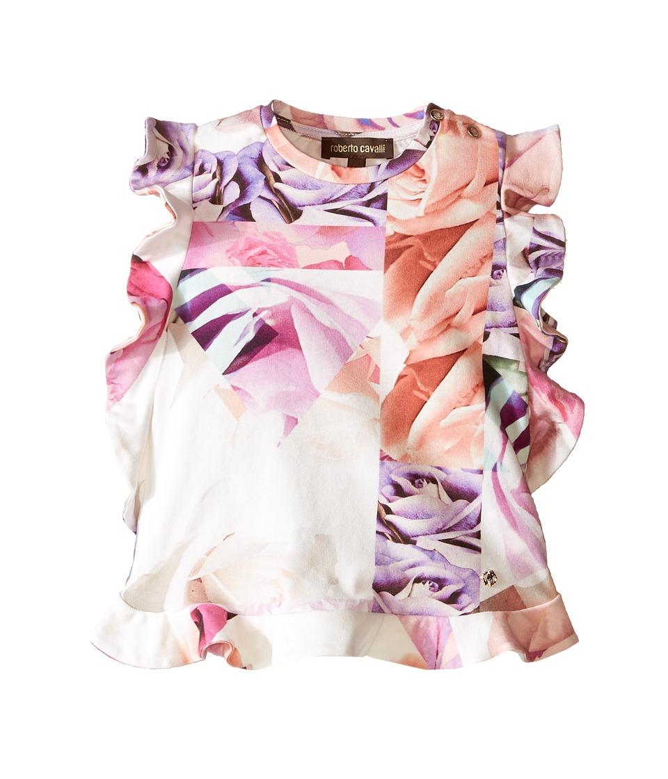 Roberto Cavalli Kids - Ruffle Shirt (Infant) (Rose Print) Girl's Short Sleeve Pullover