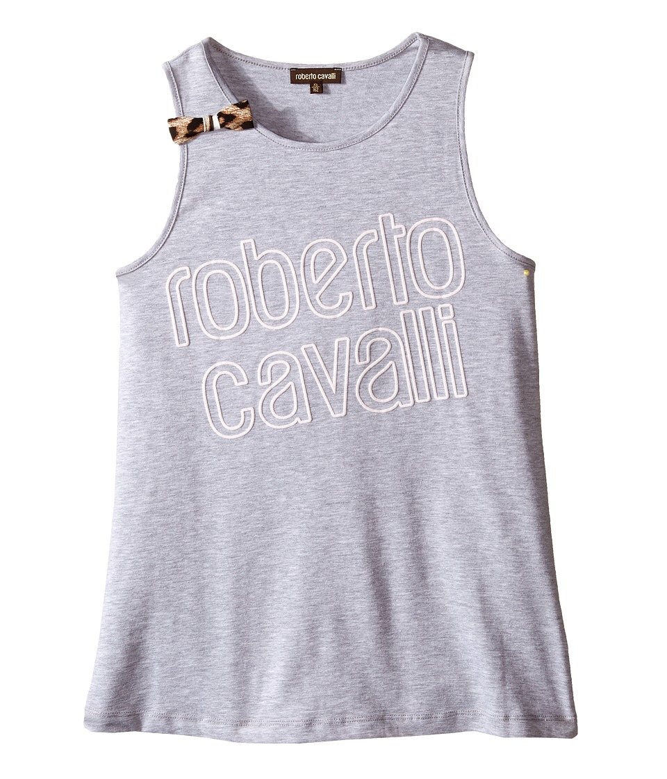 Roberto Cavalli Kids - Logo Tank Top with Bow Detail (Big Kids) (Grey) Girl's Sleeveless