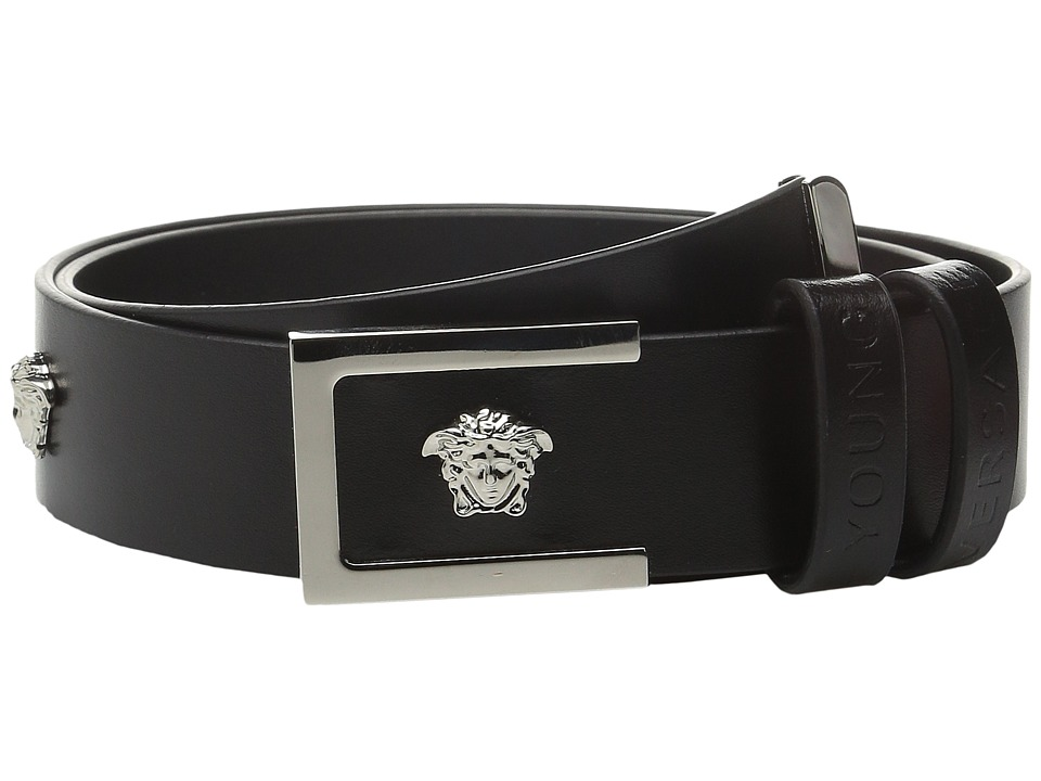 Versace Kids - Leather Belt with Multiple Medusa Logos (Big Kids) (Black) Boy's Belts