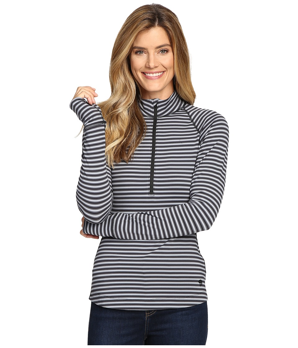 Mountain Hardwear Butterlicioustm Stripe Long Sleeve 1/2 Zip (Black/Black) Women
