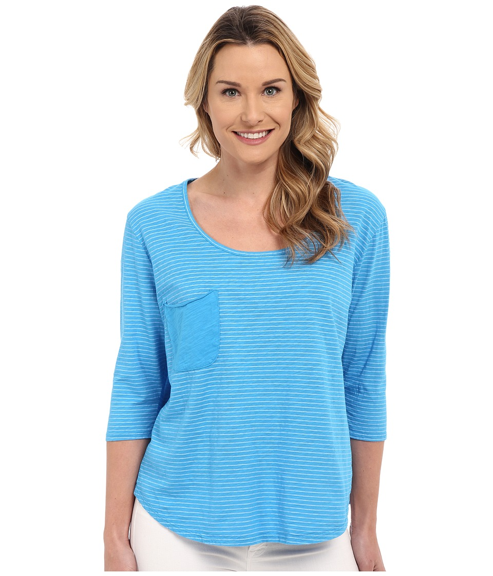 Fresh Produce - Pinstripe Sunspree Top (Marina Blue) Women's Long Sleeve Pullover