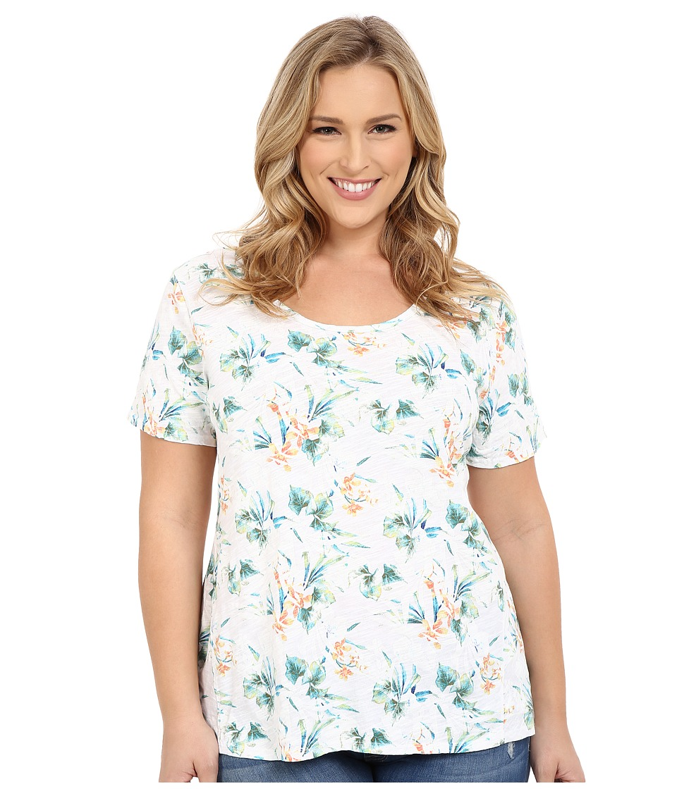 Fresh Produce - Plus Size Paradise Luna Top (White) Women's Short Sleeve Pullover