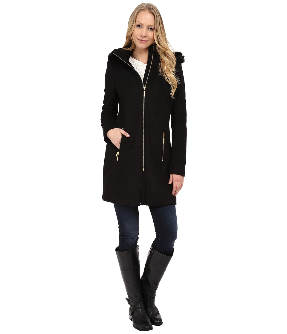 T Tahari - Kali Faux Fur Trim Wool Coat (Black) Women's Coat
