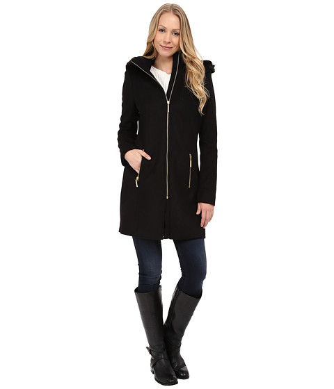 T Tahari - Kali Faux Fur Trim Wool Coat (Black) Women