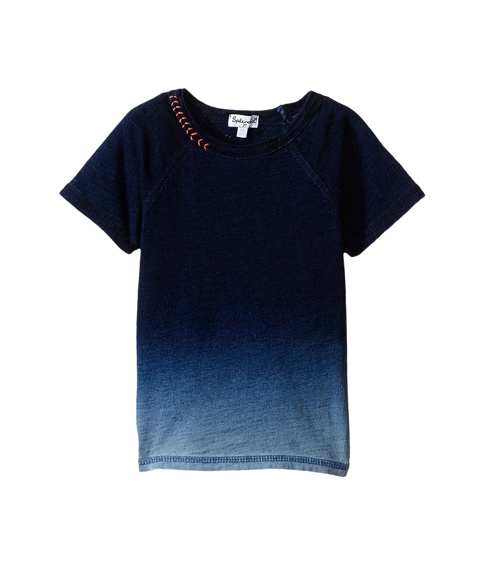Splendid Littles - Indigo Short Sleeve Dip Dye Top (Toddler) (Indigo) Boy's Short Sleeve Pullover