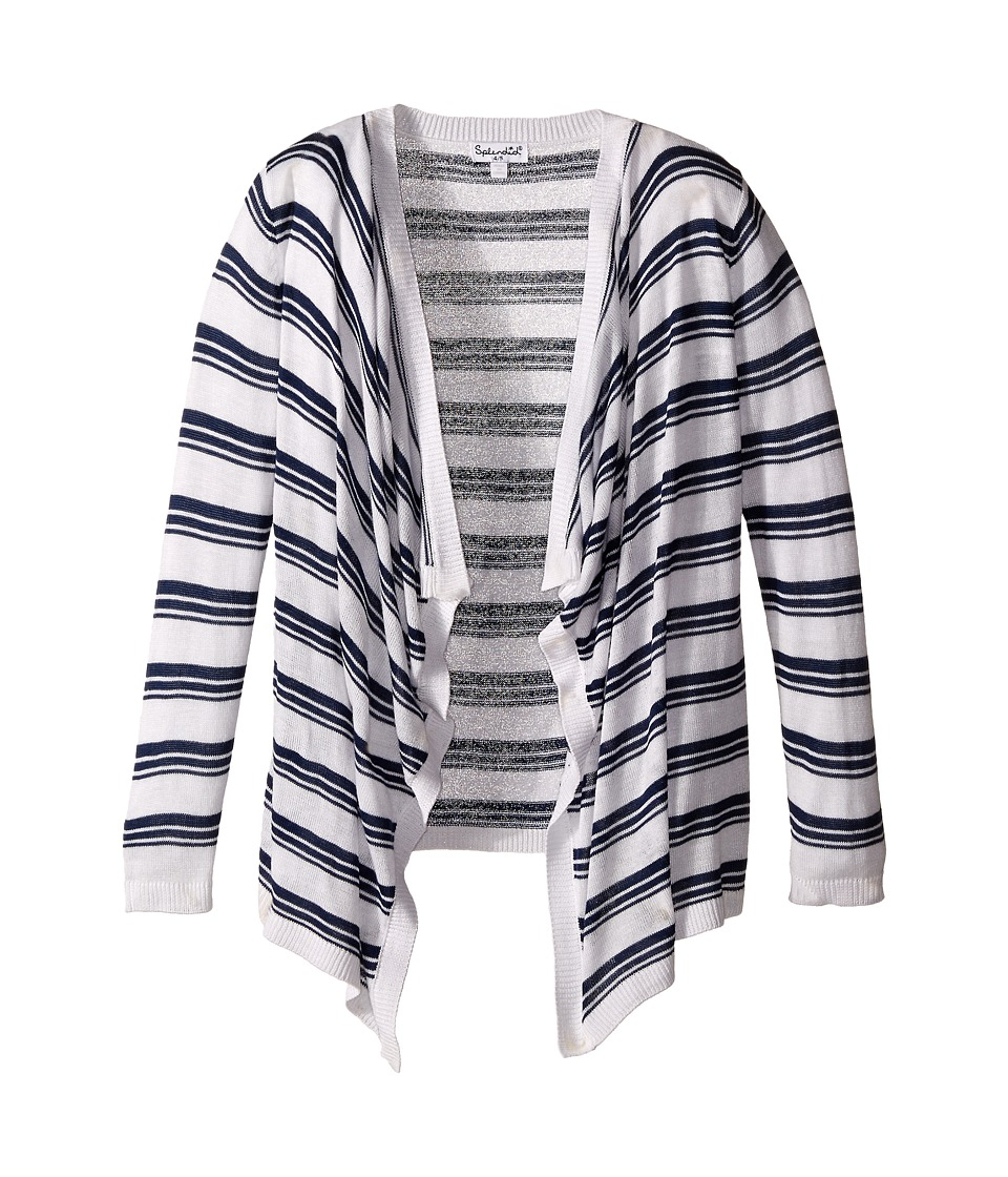 Splendid Littles - Striped Wrap Sweater (Little Kids) (Navy) Girl's Sweater