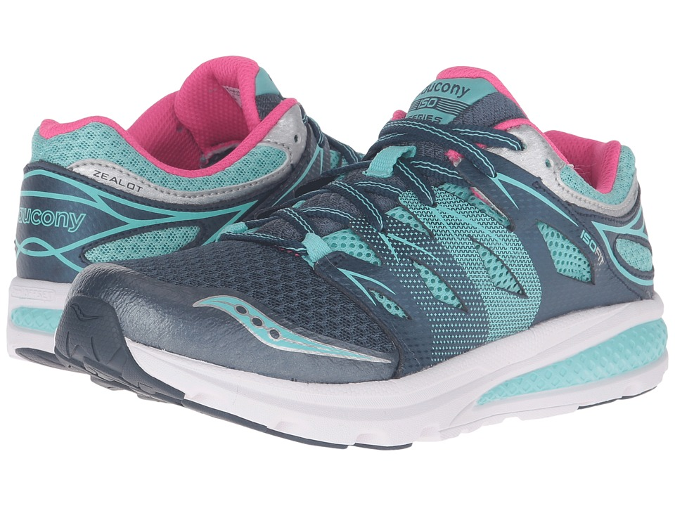 Saucony Kids - Zealot (Big Kid) (Navy/Turquoise) Girls Shoes