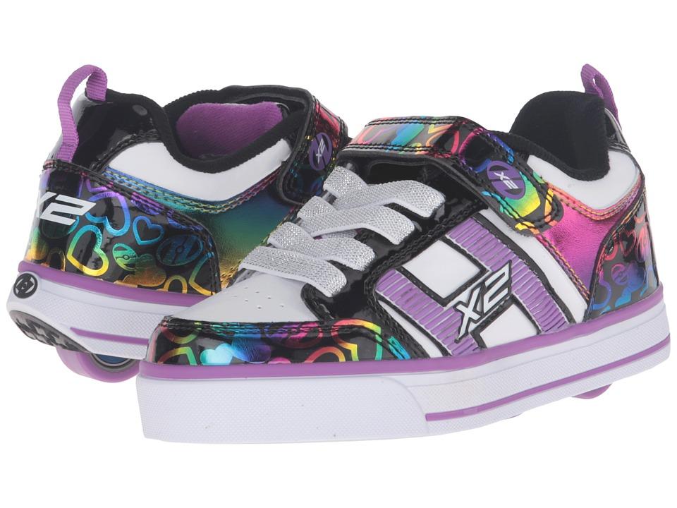 Heelys - Bolt Plus X2 (Little Kid/Big Kid) (White/Black/Rainbow Hearts) Girls Shoes