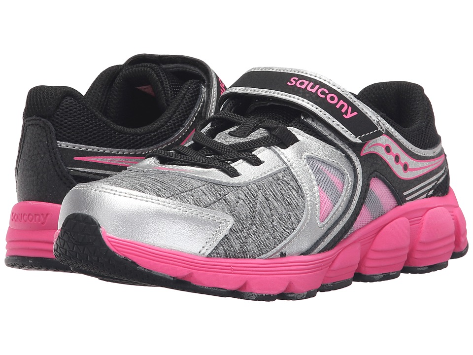 Saucony Kids Kotaro 3 A/C (Little Kid) (Silver/Black/Pink) Girls Shoes