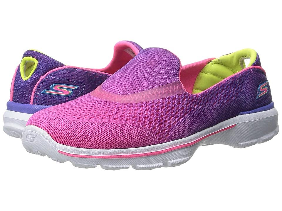 SKECHERS KIDS - GO Walk 3 81072L (Little Kid/Big Kid) (Purple/Neon Pink) Girl's Shoes