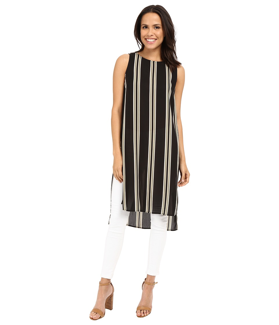Vince Camuto - Sleeveless Bohemian Stripe Long Tunic (Rich Black) Women's Blouse