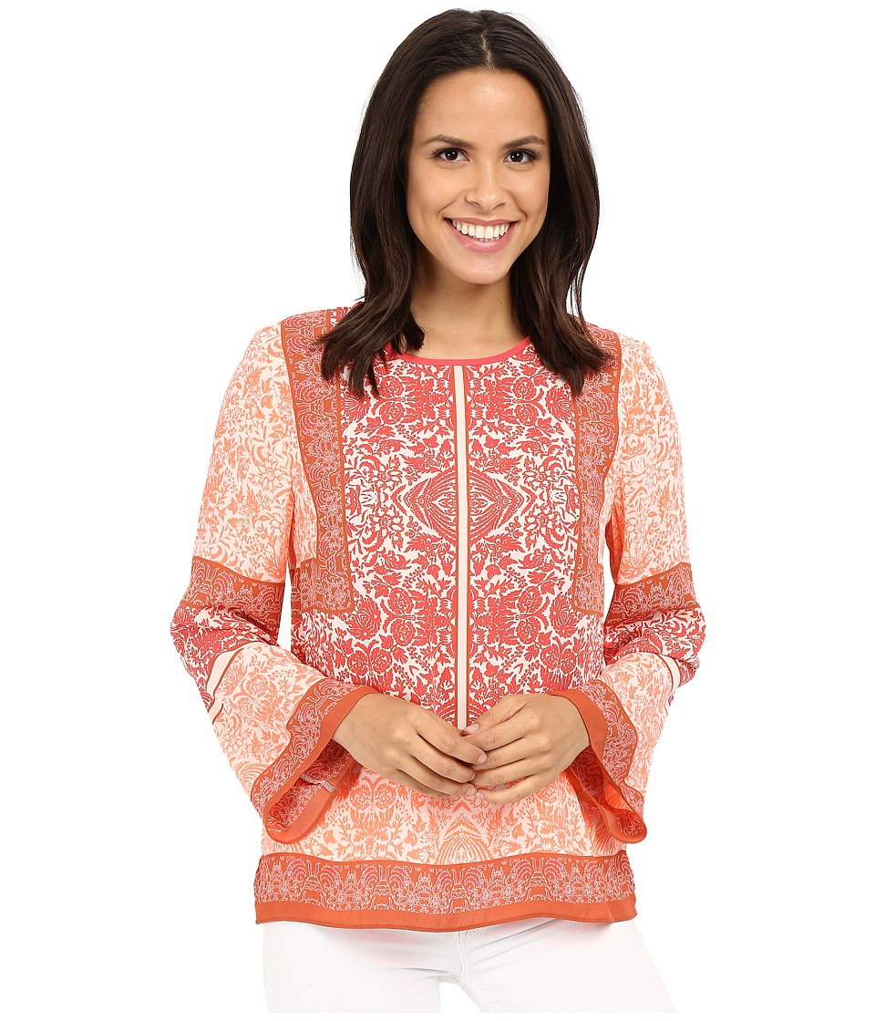 Vince Camuto - Bell Sleeve Delicate Maze Panel Blouse (Red Earth) Women's Blouse