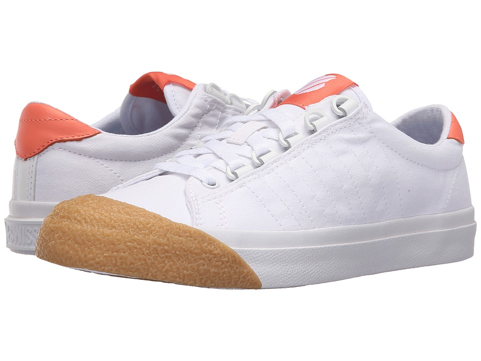 K-Swiss - Irvine T (White/Fusion Coral/Dark Gum Canvas) Women's Tennis Shoes