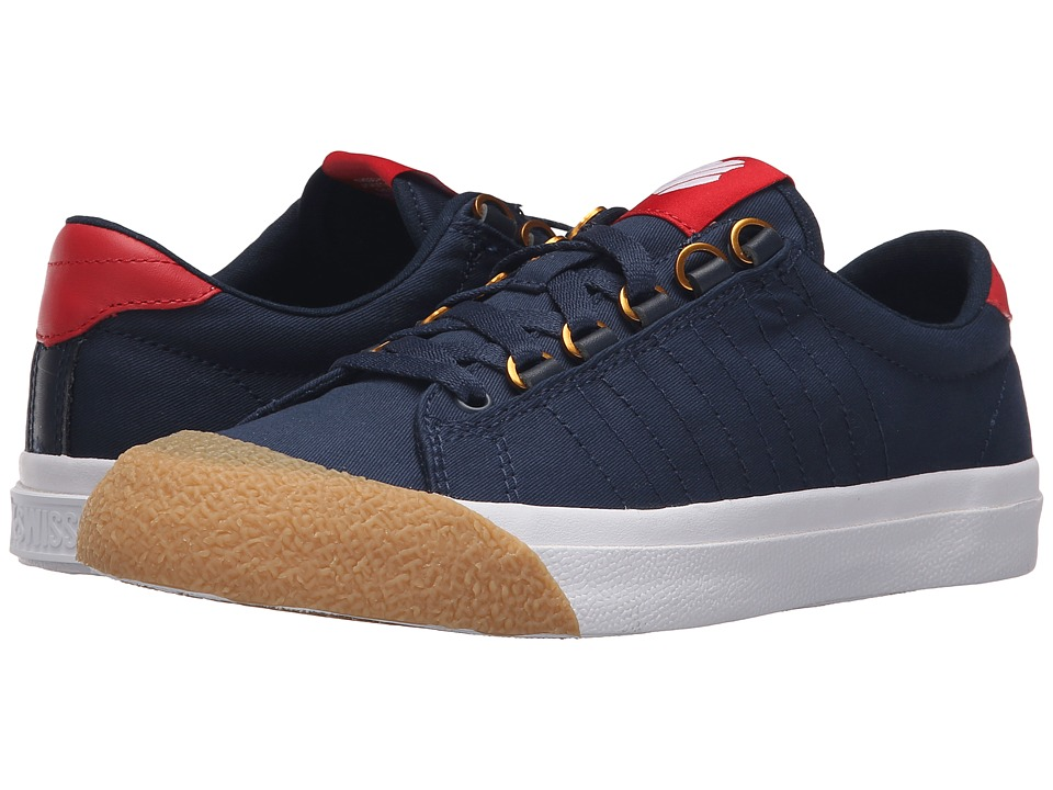 K-Swiss - Irvine T (Dress Blues/Ribbon Red/Dark Gum Canvas) Women's Tennis Shoes