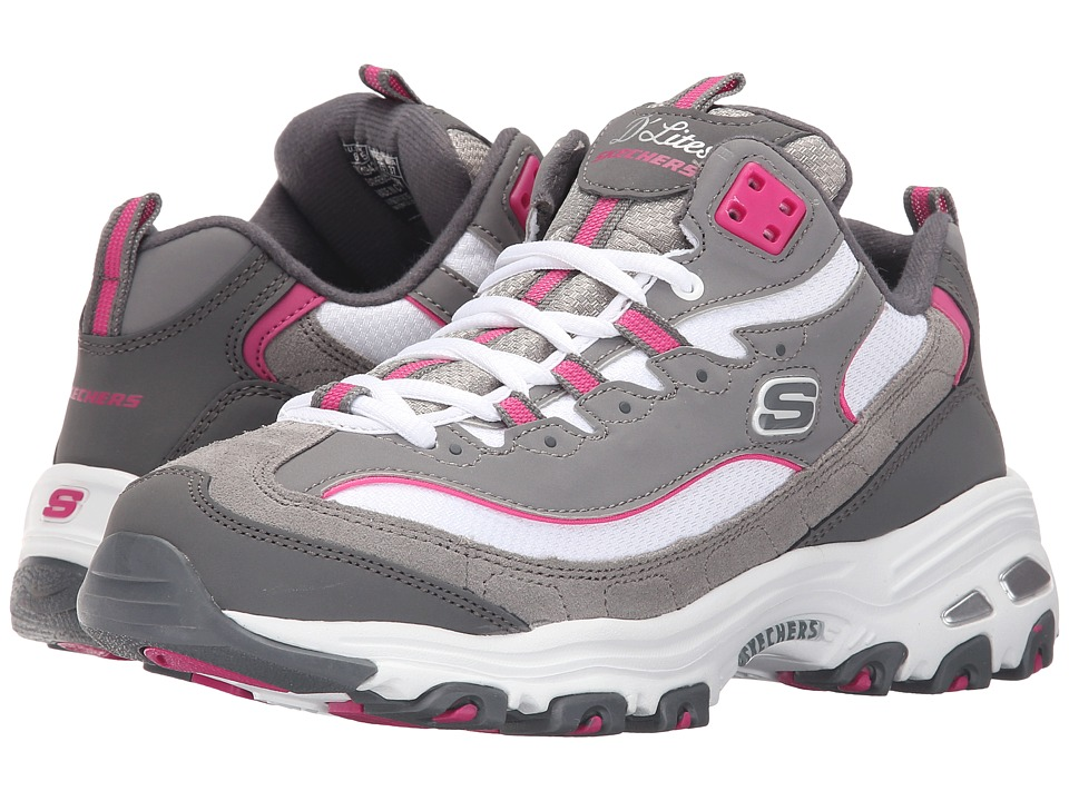 SKECHERS - D'Lites - Mid (Gray Pink) Women's Shoes