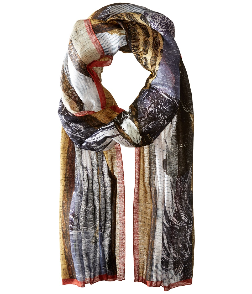 Etro - Safari Linen Silk Wrap Scarf (White Multi) Scarves