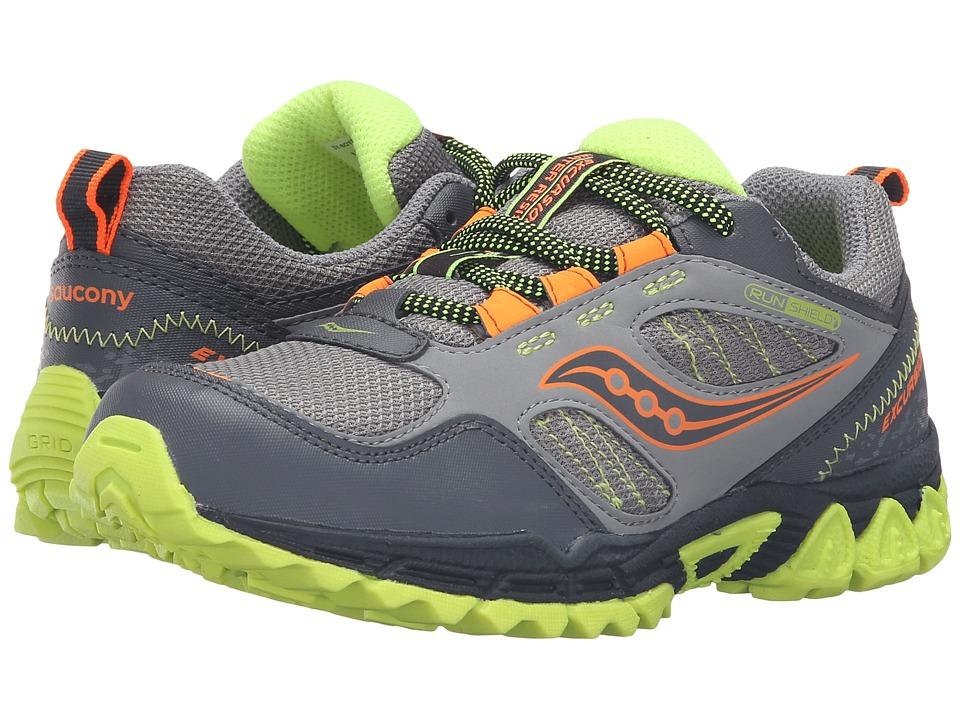 Saucony Kids - Excursion Water Shield (Little Kid) (Grey/Orange/Citron) Boys Shoes