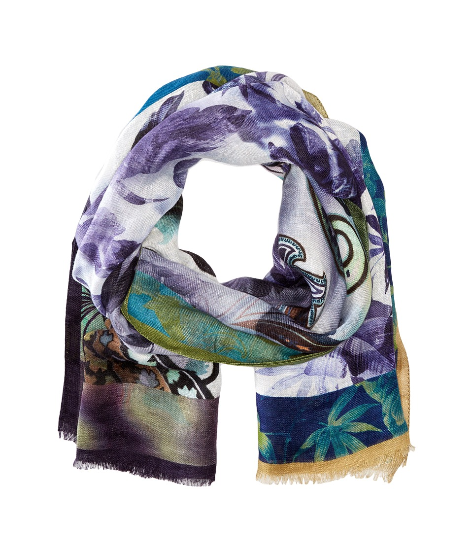Etro - Watercolor Paisley Linen Scarf (Blue Multi) Scarves