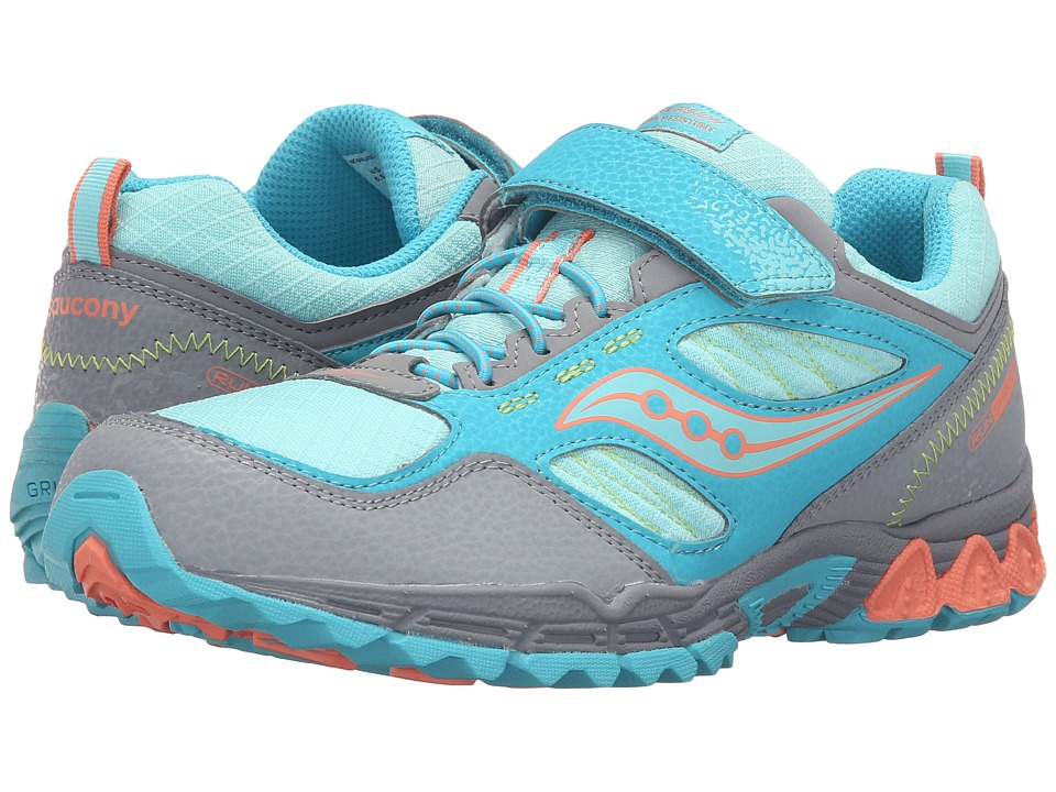 Saucony Kids - Excursion Water Shield A/C (Big Kid) (Grey/Turquoise/Coral) Girls Shoes