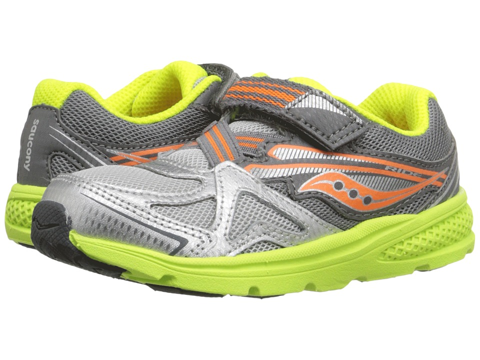 Saucony Kids Baby Ride (Toddler/Little Kid) (Grey/Orange) Boys Shoes