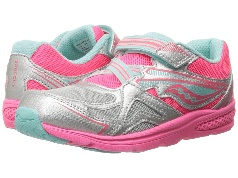 Saucony Kids Baby Ride (Toddler/Little Kid) (Silver/Coral) Girls Shoes