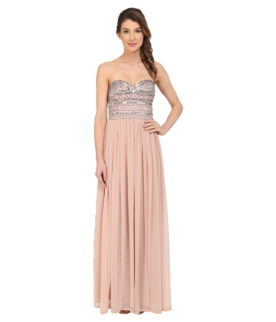 Aidan Mattox Strapless Chiffon Gown with Beaded Bodice (Blush) Women