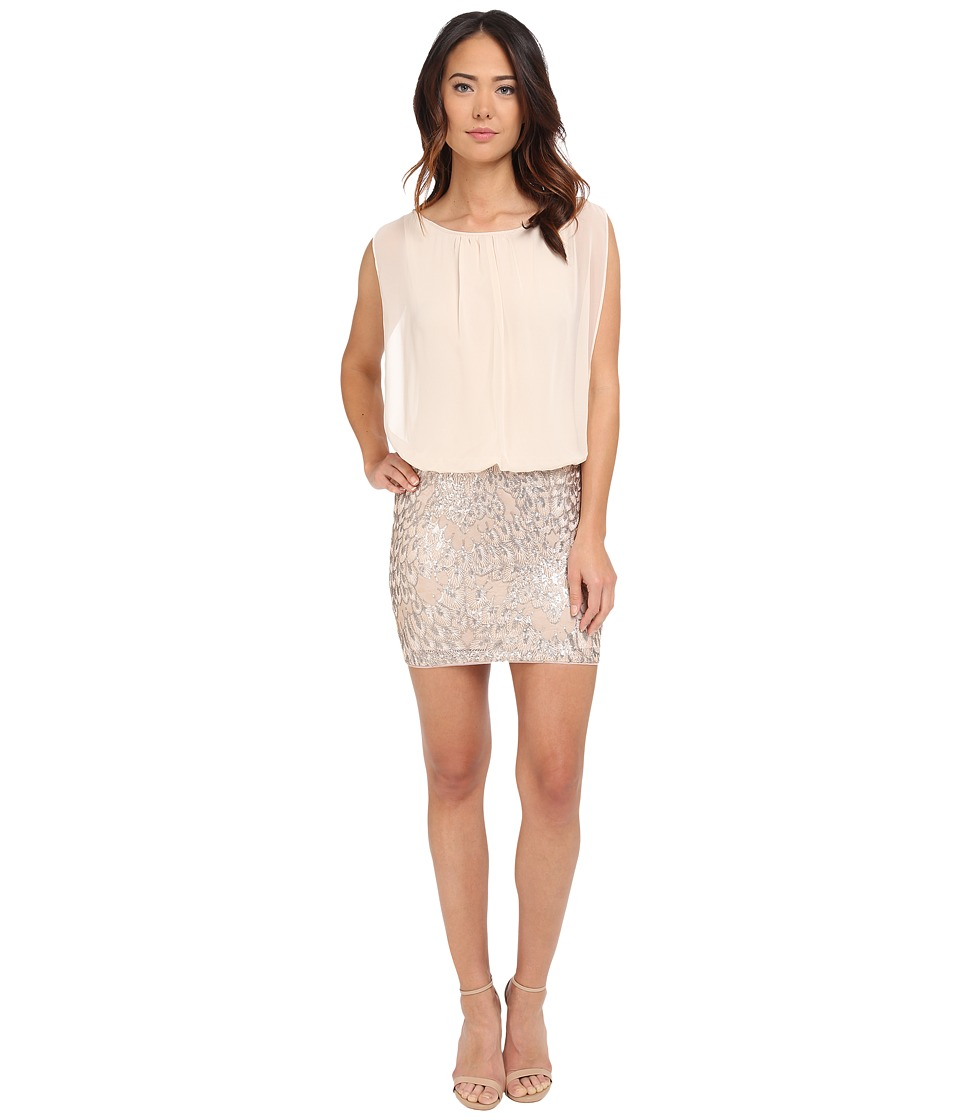 Aidan Mattox - Blousson Cocktail Dress with Embroidered Feather Motif (Champagne) Women's Dress
