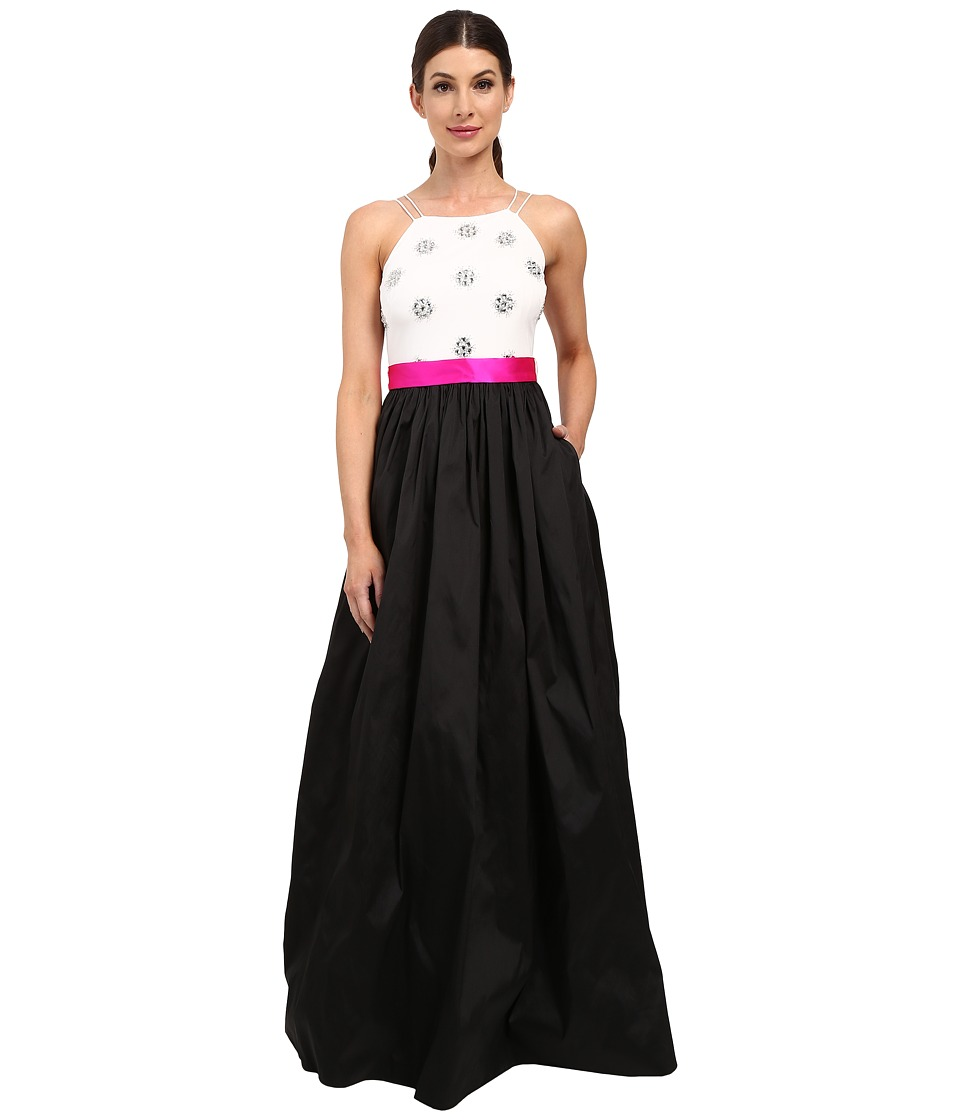 Aidan Mattox - Ball Gown with Bead Bodice and Contrast Sash (Black/Ivory) Women's Dress