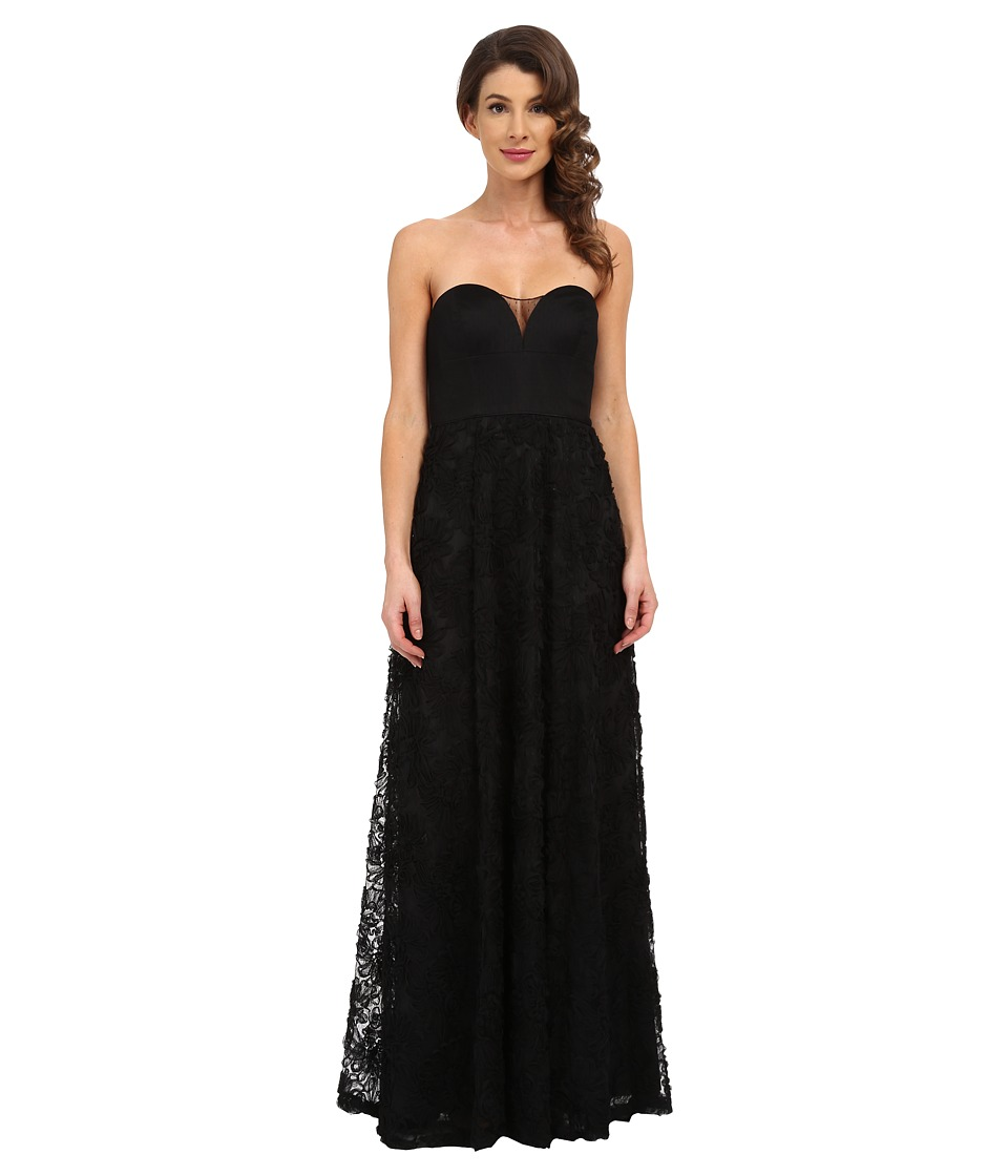Aidan Mattox - Strapless Rosette Gown (Black) Women's Dress