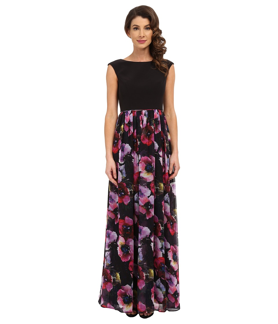 Aidan Mattox - Cap Sleeve Stretch Top with Printed Ball Skirt (Pink/Multi) Women's Dress