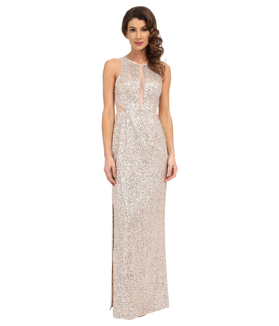 Aidan Mattox - Sequin Long Column Gown with Illusion Insets and Back (Champ/Silver) Women's Dress