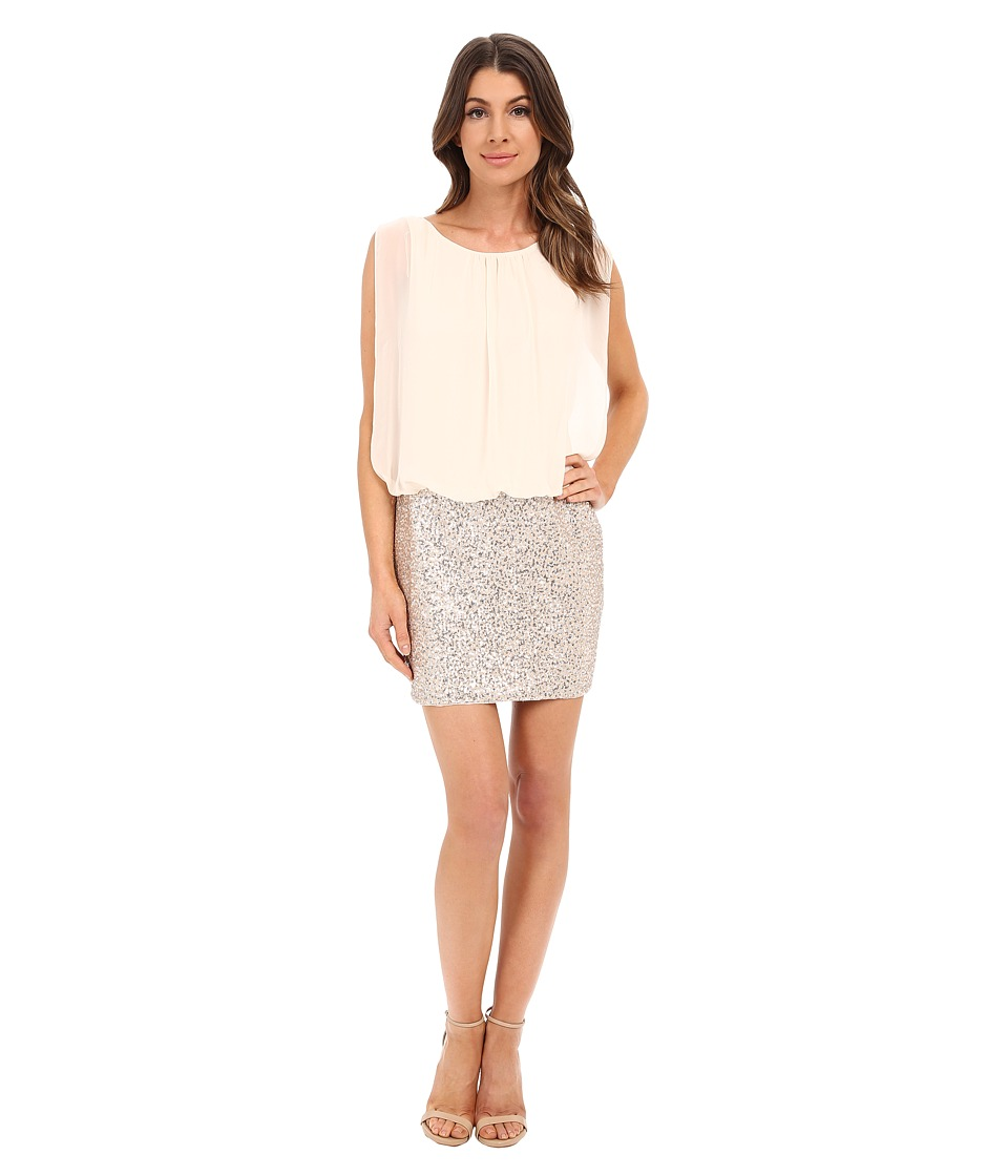 Image of Aidan Mattox - Blouson Cocktail Dress with Stretch Sequin Skirt (Champagne/Silver) Women's Dress