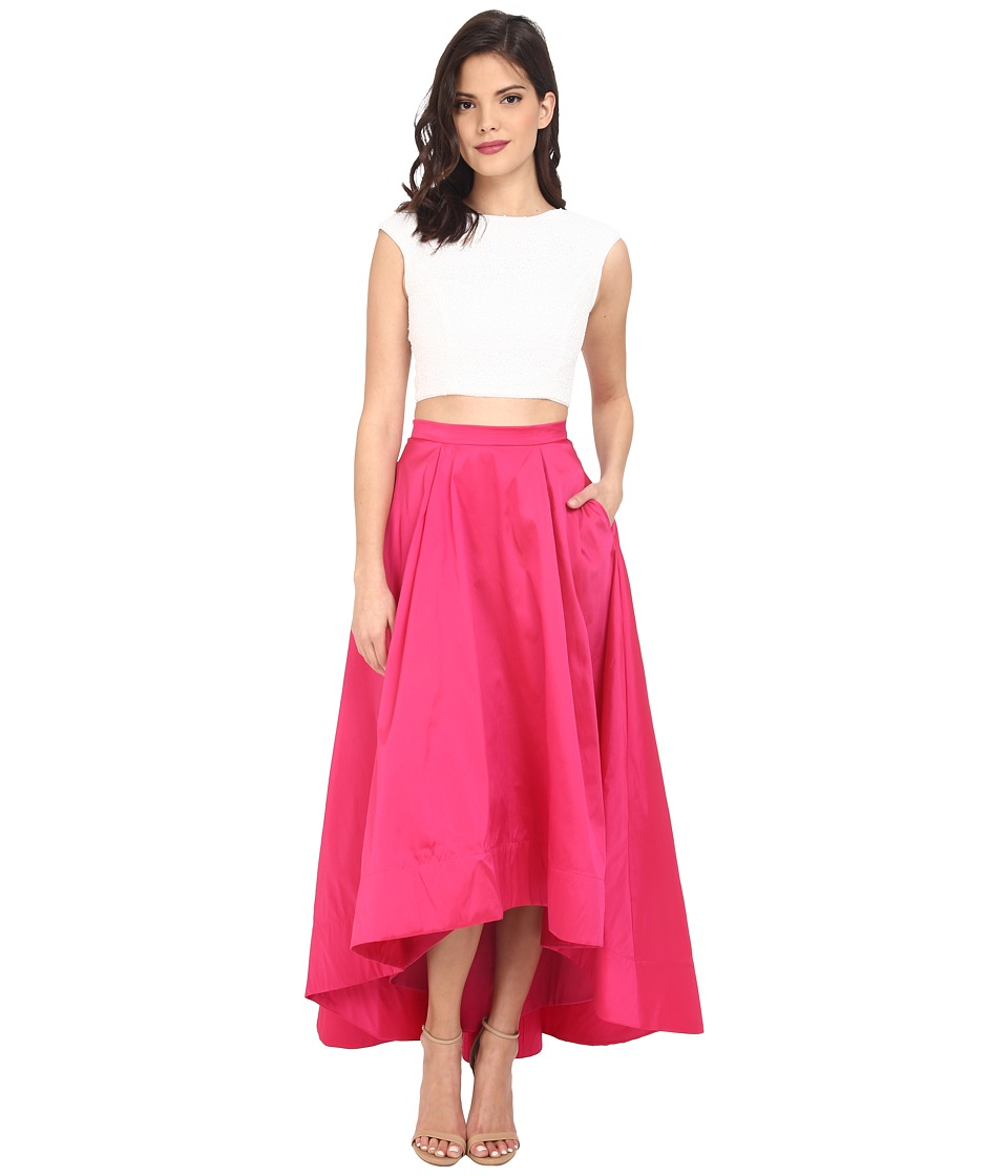 Aidan Mattox Cap Sleeve Sequin Top with Taffeta A Line High-Low Skirt Ivory-Fuchsia Dress