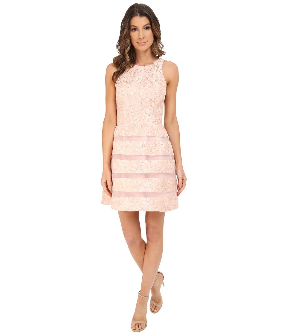 Aidan Mattox - Jackquard Cocktail Dress with Illusion Stripe Skirt Detail (Blush) Women's Dress