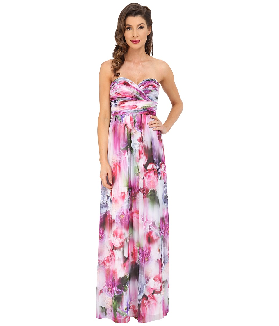Aidan Mattox - Strapless Printed Chiffon Gown with Shirrred Bust Detail (Pink/Multi) Women's Dress