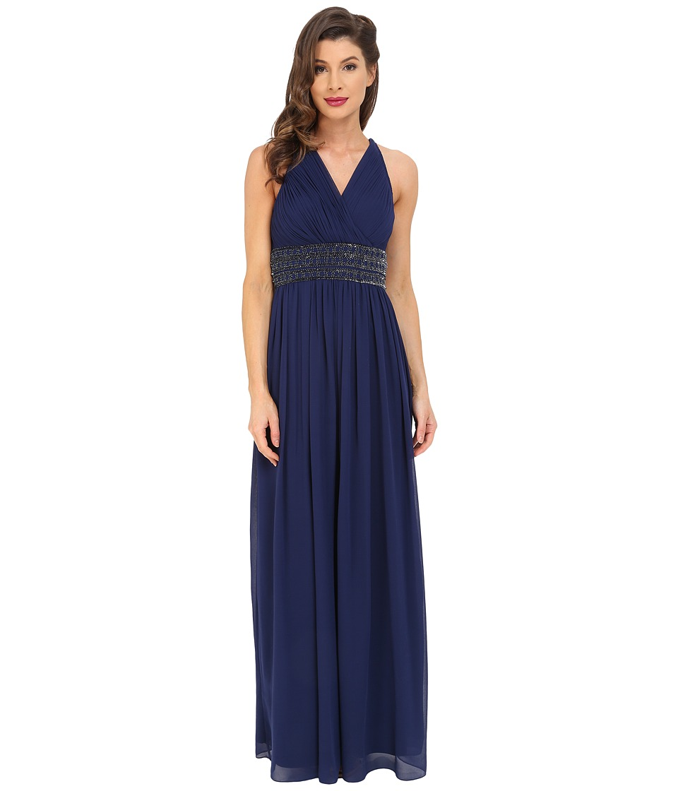 Aidan Mattox Shirred Chiffon Gown with Twist Back (Navy) Women